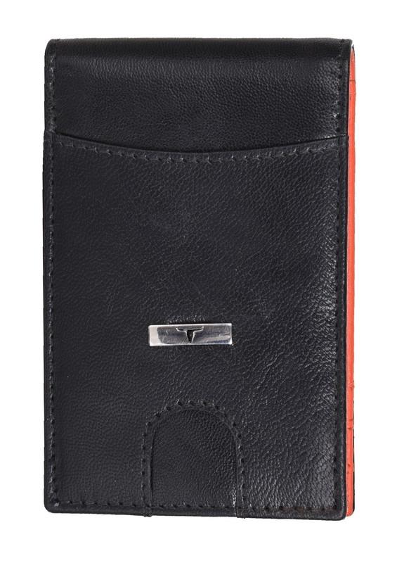 Urban Forest: Eddy Slim Leather Wallet - Decker Black/Papyaya