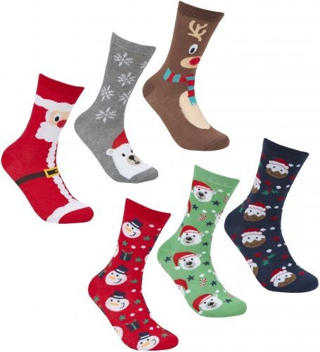 Ladies Novelty Christmas Cotton Rich Value Pack Ankle Socks - 3 Pack (Size UK 4-8)