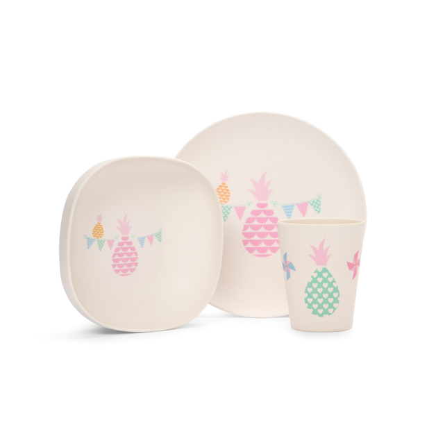 Pineapple Bunting Bamboo Meal Set with Cutlery
