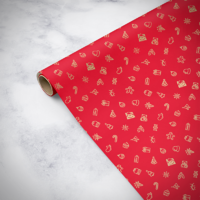 Gorilla Gift: Wrapping Paper - Christmas Red (2m)