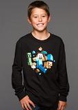 Minecraft Run Away! Glow in the Dark Youth Long Sleeve Shirt (Medium)