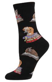 Socksmith: Women's Cats On Books Crew Socks - Black