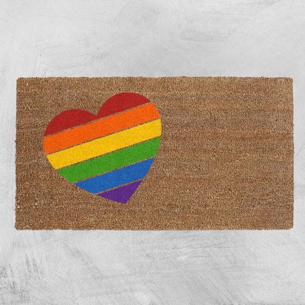 Natural Fibre Doormat - Rainbow Heart