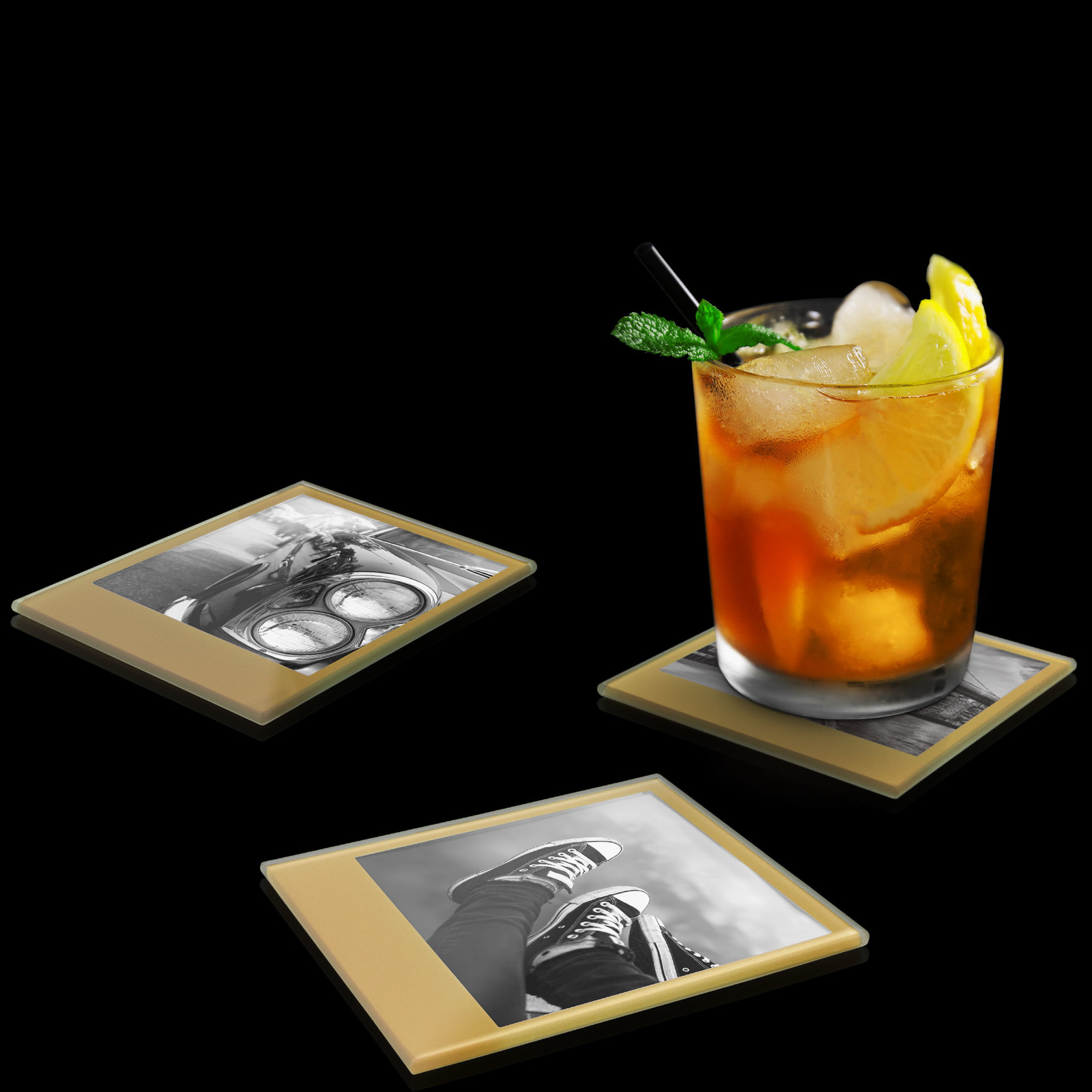 Instant Coasters: Tempered Glass Coaster Set - Retro Gold image