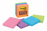 Post-it Super Sticky Electric Glow Notes 76mm x 76mm - 90shts/pad (Pkt 5)