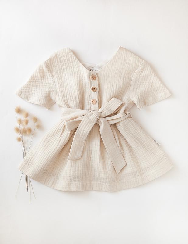 Karibou Kids: Off-Duty Girls Cotton Dress in Almond Milk 4YRS