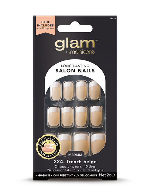 Glam by Manicare - French Beige Medium Square Glue-On Nails (2g)