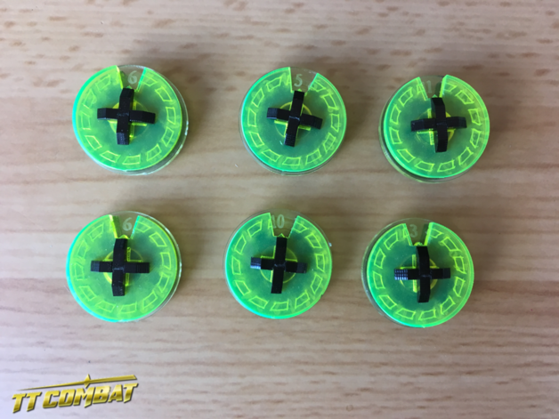 TTCombat: Small Wound Dials - (Acid Green)