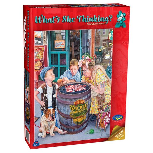 Holdson: 1000 Piece Puzzle - What's She Thinking? (Checkers)
