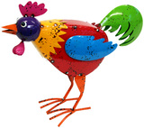 Cheeky Metal Animal Ornament - Droopy Rooster