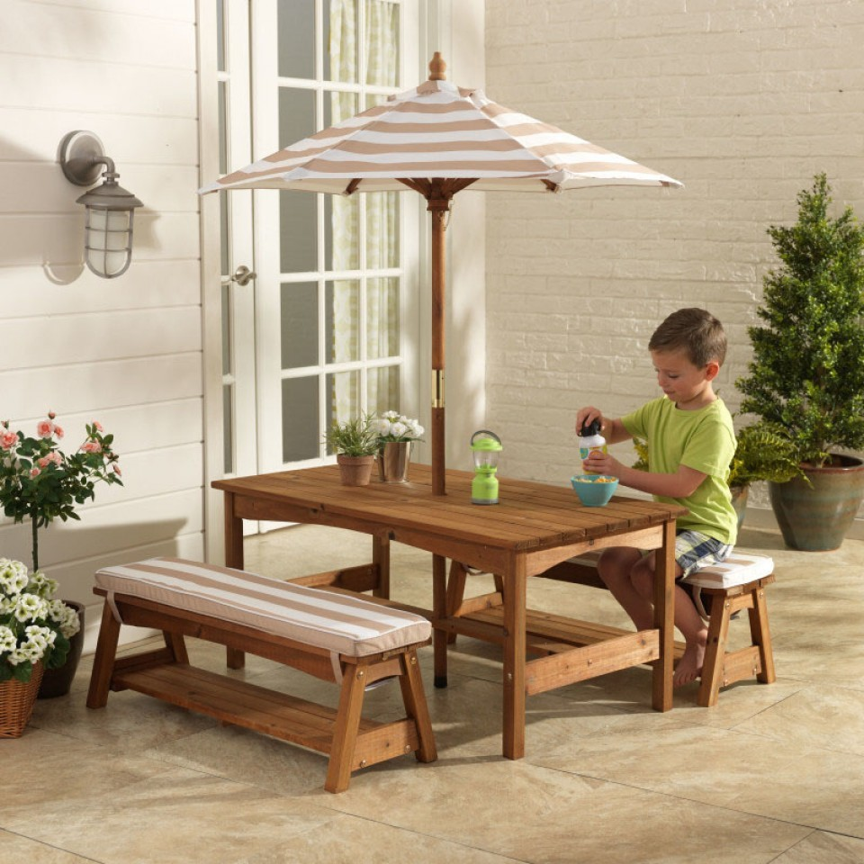 KidKraft - Outdoor table & Chair Set with Cushions (Oatmeal) image