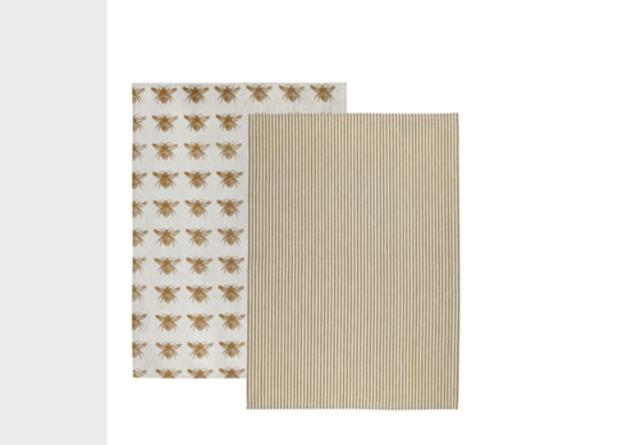 Honey Bee Tea Towel - Mustard (Set of 2)