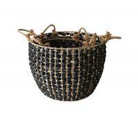 Splosh Markings Black Woven Basket Set Of 3