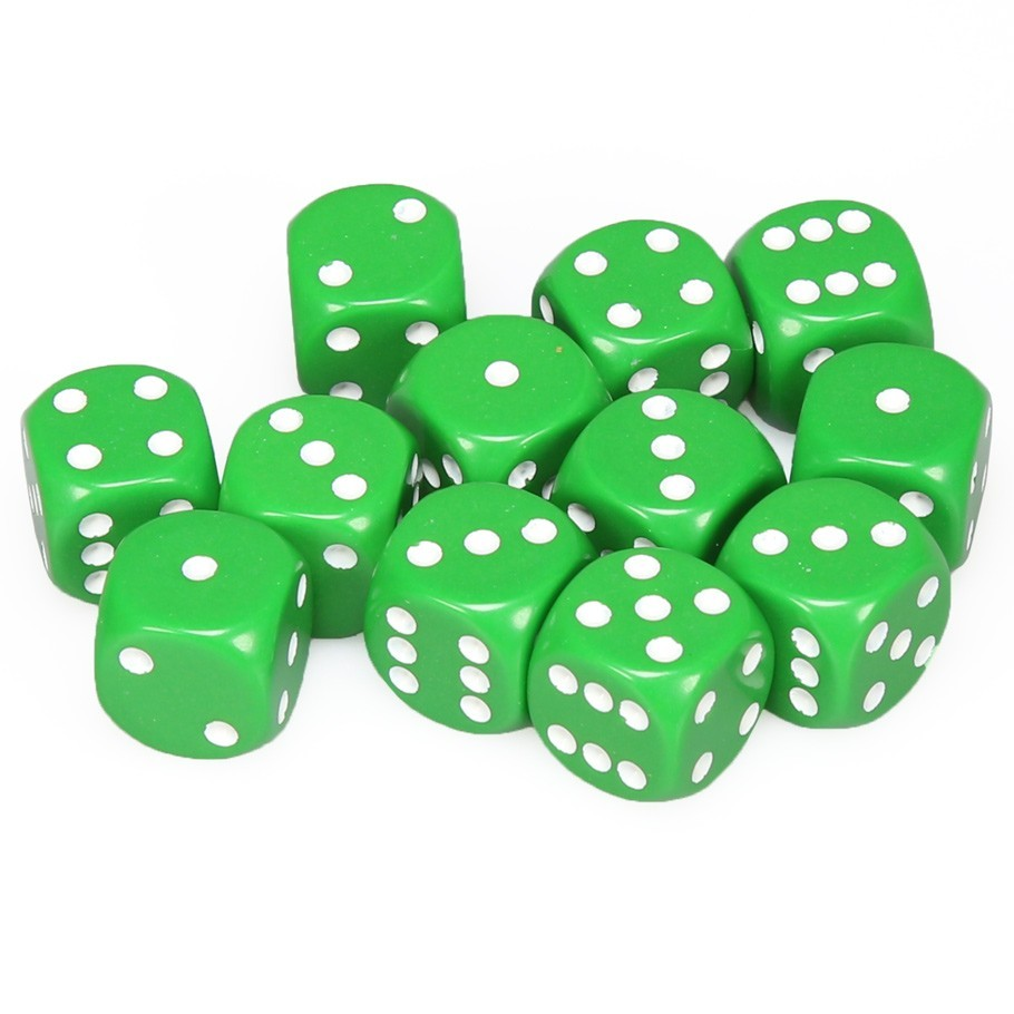 Chessex: D6 Opaque Cube Set (16mm) - Green/White image