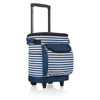 Portable Rolling Cooler - Navy & White Stripe