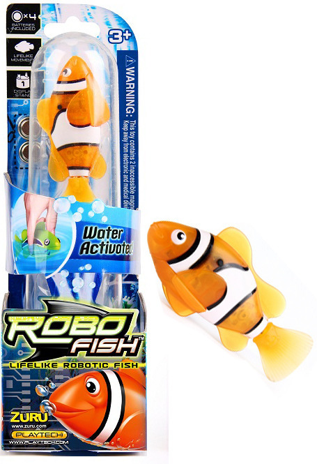 Zuru robo fish orange clown fish toy at mighty ape nz for Zuru robo fish
