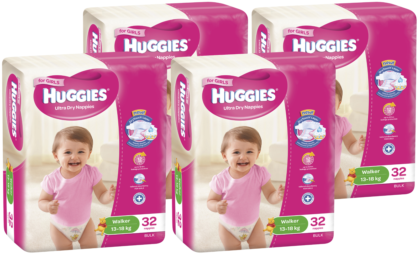 Huggies Ultra Dry Nappies Bulk Shipper - Walker Girl 13-18kg (128) image