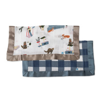 Little Unicorn: Muslin Security Blanket 2 Pack - Meow & Jack Plaid image