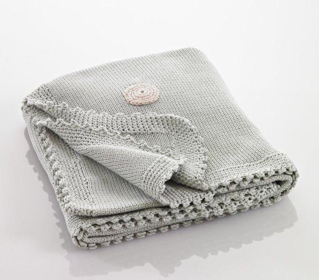 Pebble: Organic Crochet Edge Blanket - Teal