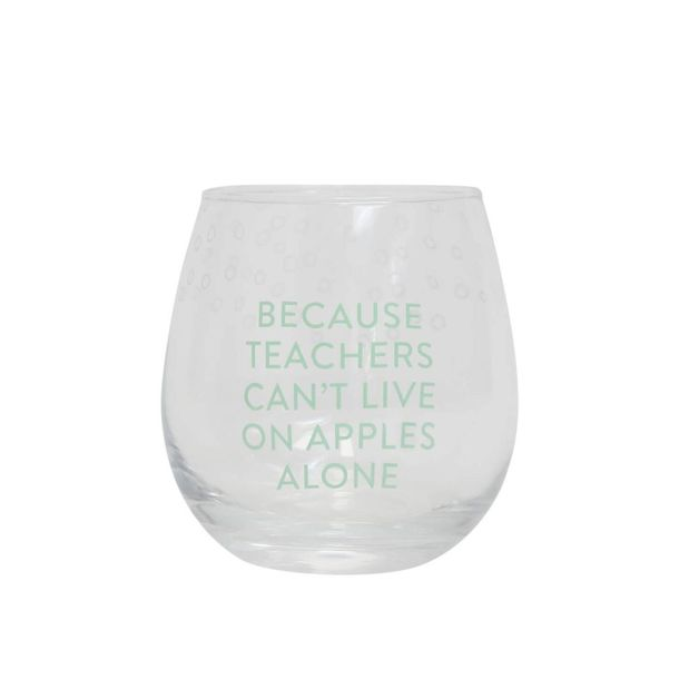 Splosh: Teacher Stemless Wine Glass - Apples