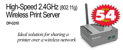 D-Link High-Speed 2.4GHz (802.11g) Wireless Print Server image