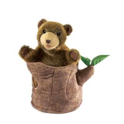 Folkmanis Hand Puppet - Bear In Tree Stump