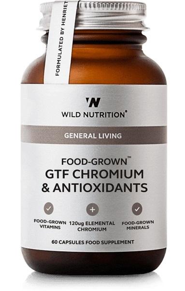 Wild Nutrition Food Grown GTF Chromium & Antioxidants (60 Caps)