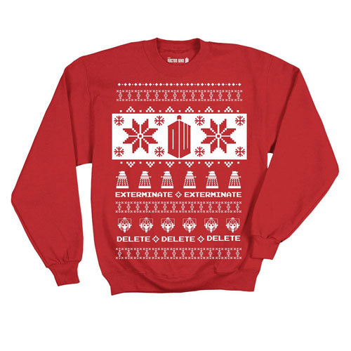 Doctor Who Villains Red Ugly Christmas Sweater Small Image At