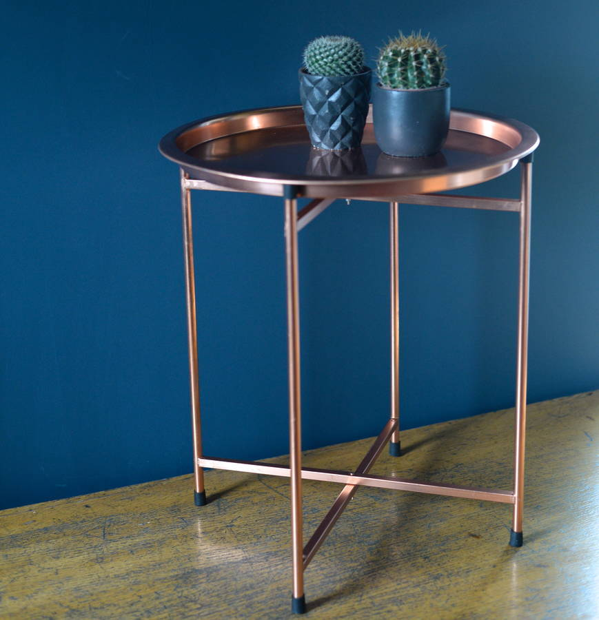 Copper Folding Coffee Table With Round Tray Images At Mighty