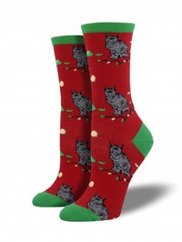 Christmas Cat-astrophy Crew Socks - Red