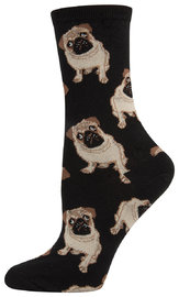 Womens Pugs Crew Socks - Black