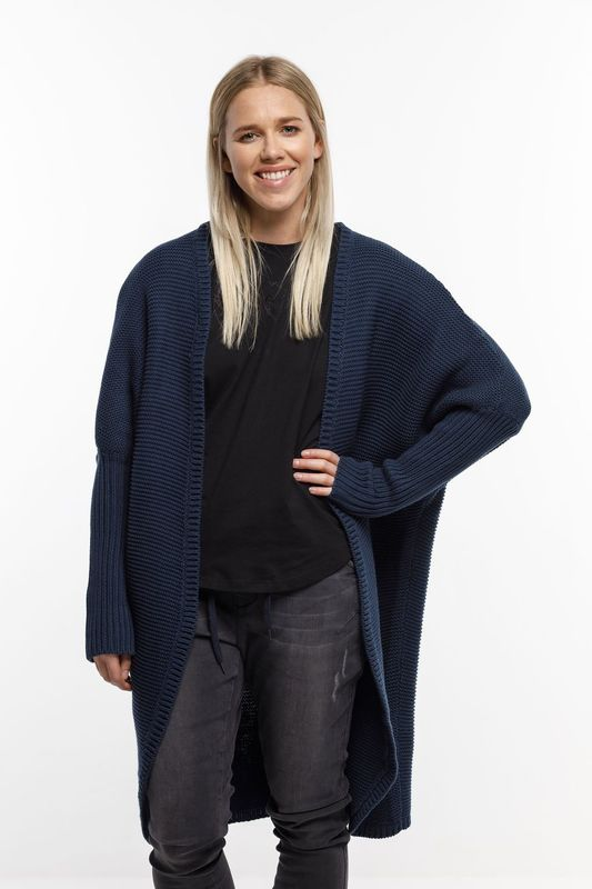 Home-Lee: Chunky Knitted Cardi -ink Navy - S