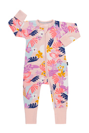 Bonds Zip Wondersuit Long Sleeve - Dessert Floral (12-18 Months)