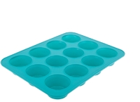 Silicone 12 Cup Muffin Pan 32.5 X 24.5 X 3.7cm Turquoise