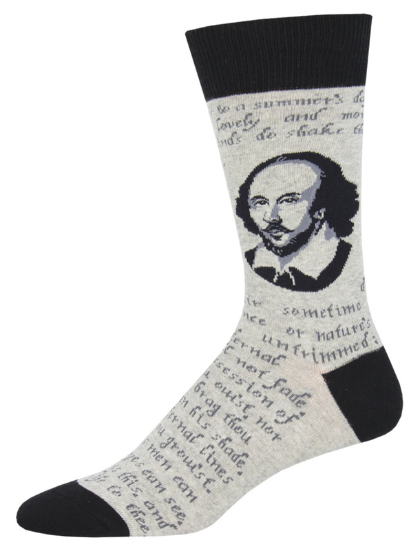 Socksmith: Mens Shakespeare Sonnet - Gray Heather