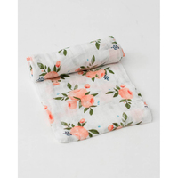 Little Unicorn: Cotton Muslin Swaddle - Watercolour Roses (Single) image