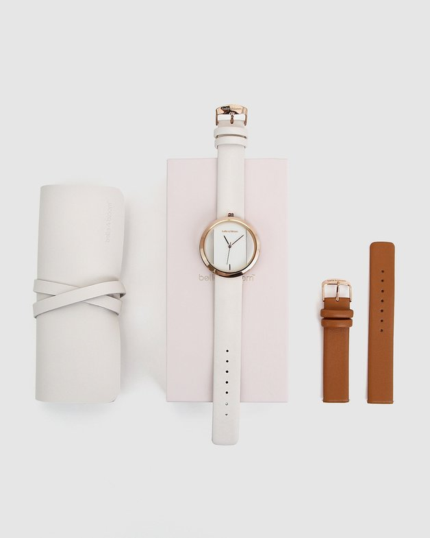 Belle and Bloom: Barcelona Story Watch Gift Set - Ivory/Tan