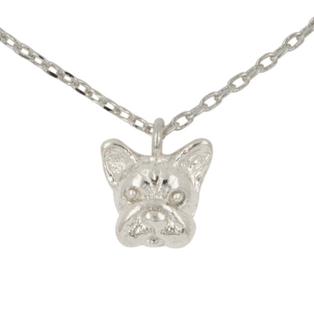 Short Story: French Bulldog Bubble Necklace - Silver