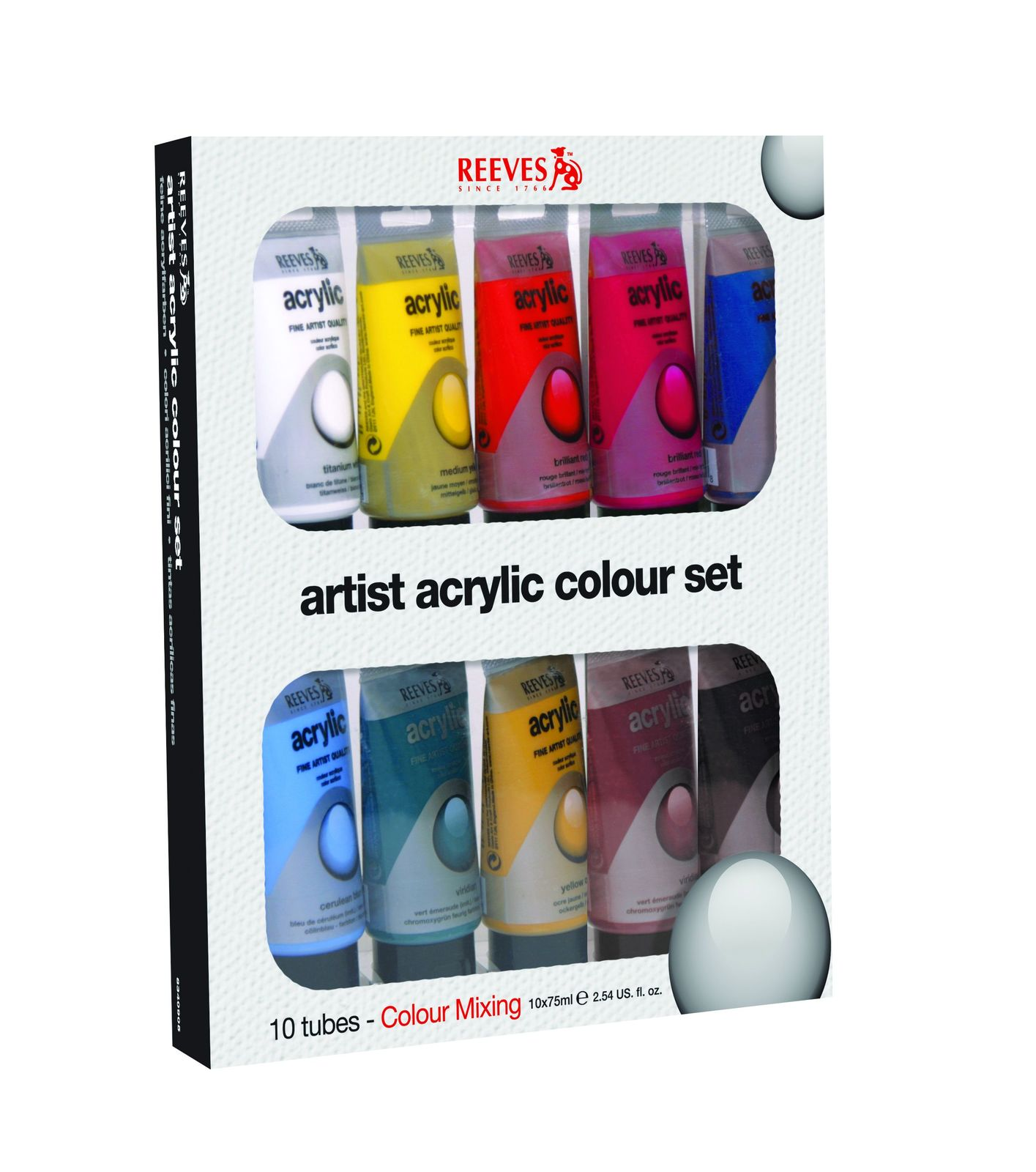 Reeves Fine Acrylic Set of 10 (10x75ml) image