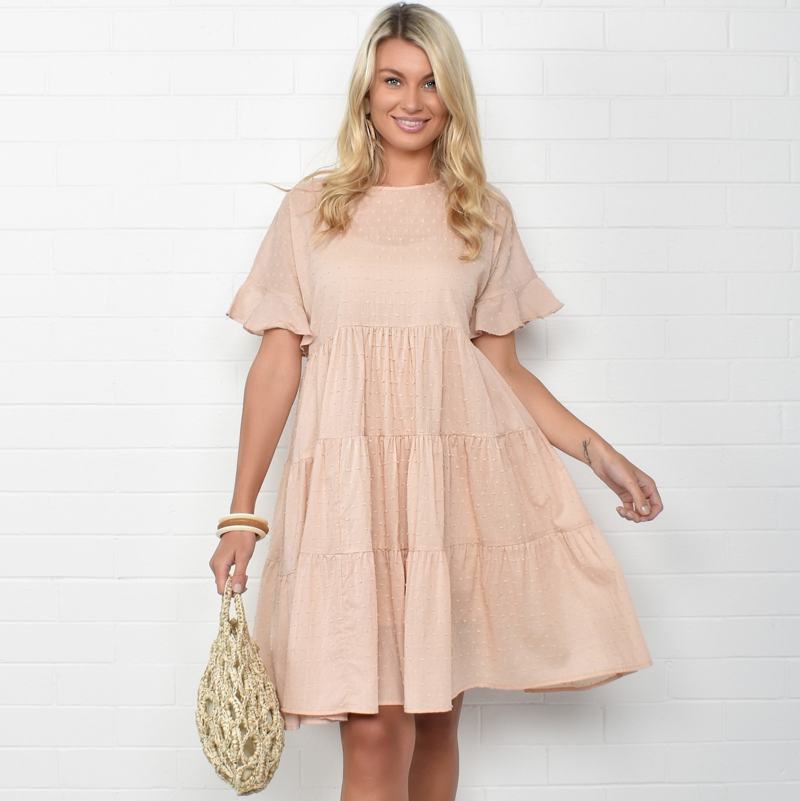 Adorne: Piper Frill Dress Nude - S/M image