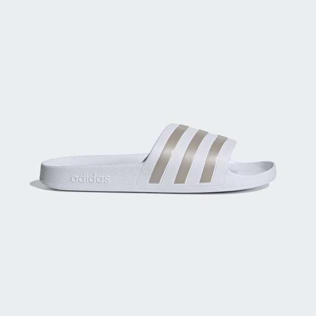 Adidas Adilette Slides Size 9 - White/Gold