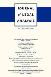 Journal of Legal Analysis: 2010: v. 2, No. 1: Spring by J.Mark Ramseyer