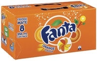 Fanta Orange Soft Drink Cans - 8 Pack (330ml)