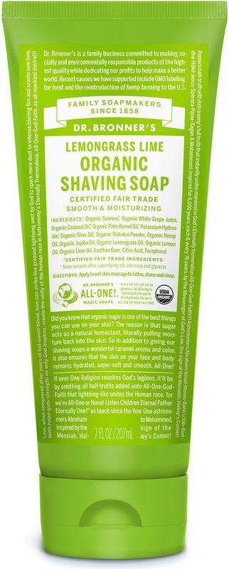 Dr Bronner's - Lemongrass Lime Organic Shaving Soap (208ml)
