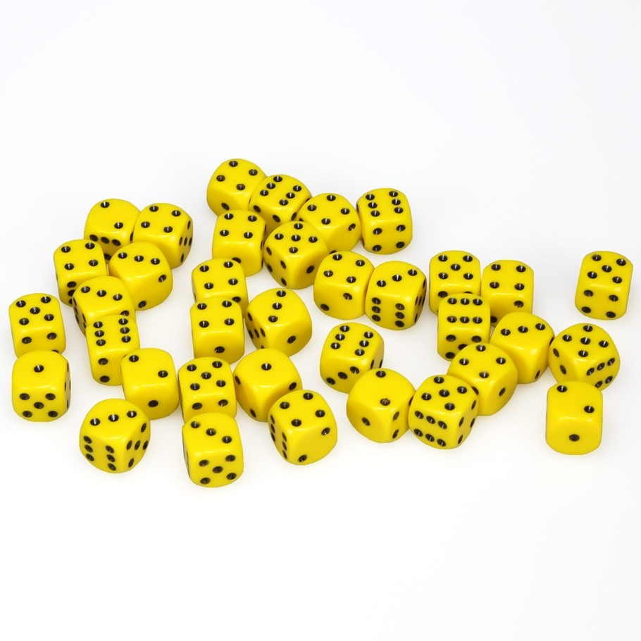 Chessex: D6 Opaque Cube Set (12mm) - Yellow/Black image