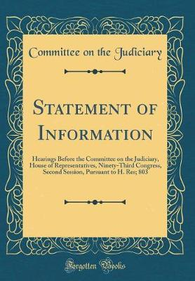 Statement of Information by Committee on the Judiciary