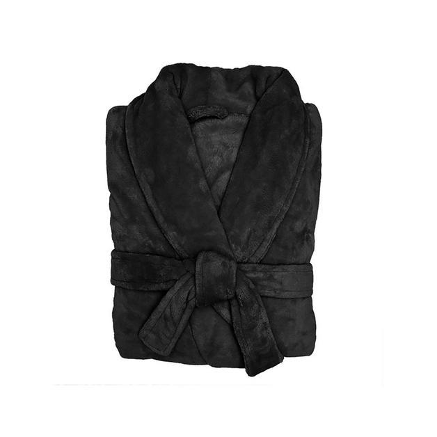 Bambury Black Microplush Robe (Large/Extra Large)