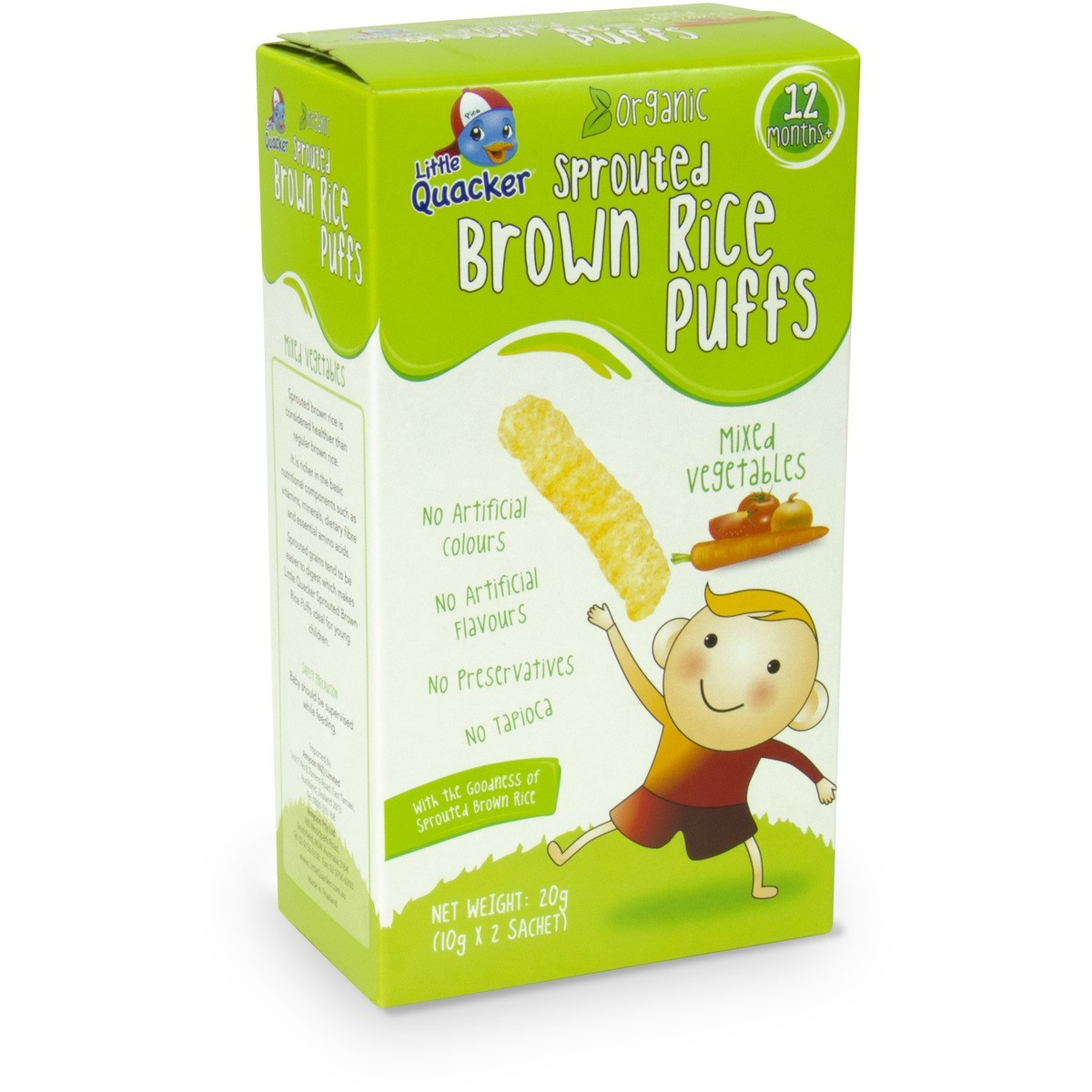 Little Quacker: Sprouted Brown Rice Puffs - Mixed Vegetables (20g) image