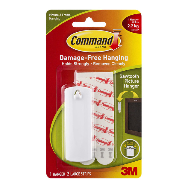 Command: Picture Hanger - Large White Sawtooth/Pack of 1