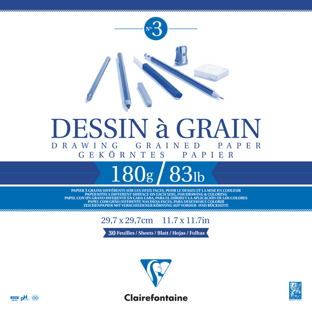 Clairefontaine: Dessin a Grain Glued 30cm Square Sketch Pad - 180g 30 Sheets